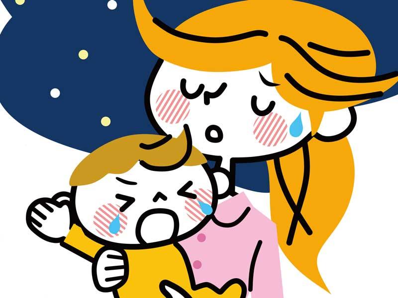 夜泣きする赤ちゃんのイラスト