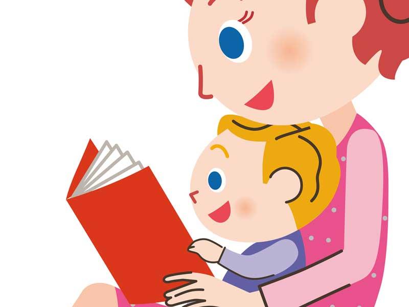 赤ちゃんに絵本を読むママのイラスト