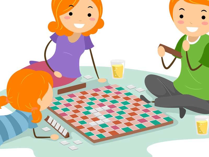 ボードゲームを遊んでいる家族のイラスト