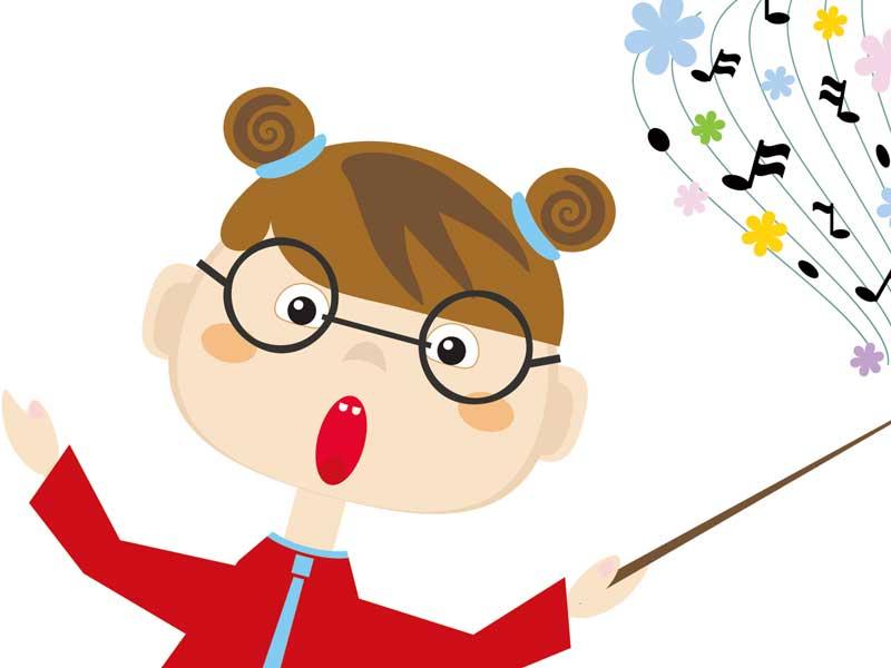 指揮者の女の子のイラスト