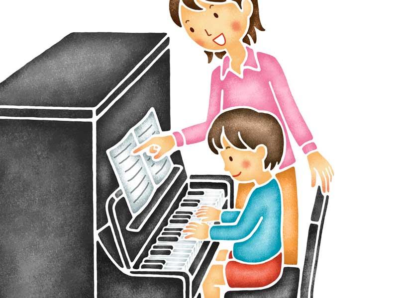 音楽教室を通う子供のイラスト