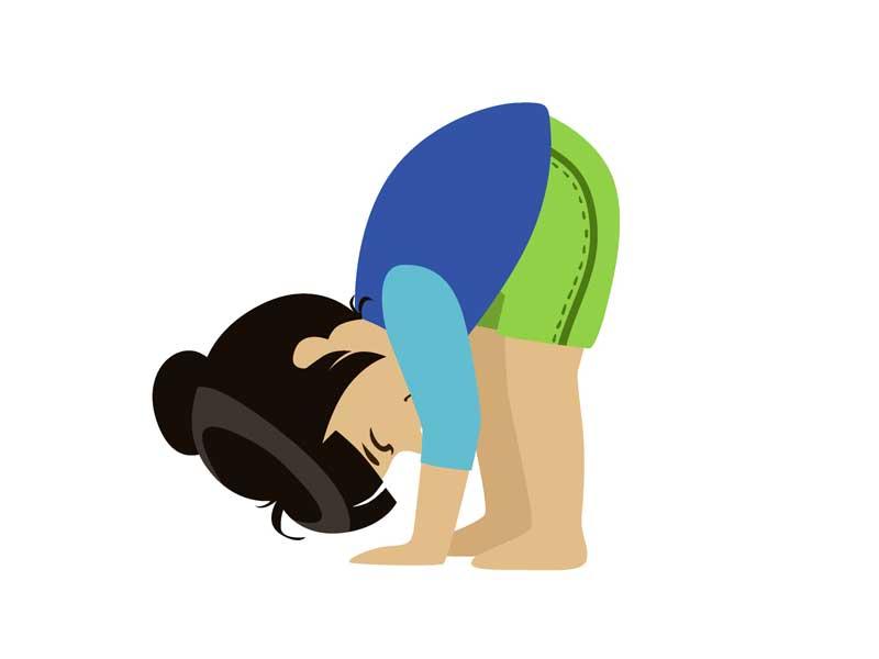 地面に手をつけて逆立ちの感覚を掴もうとしている子供のイラスト