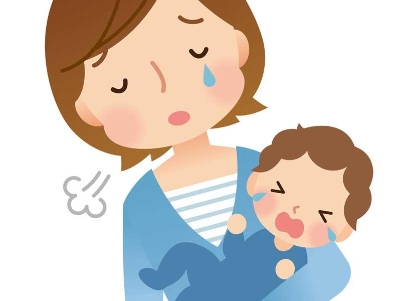 ストレスでため息をついている赤ちゃんを抱っこしているママのイラスト
