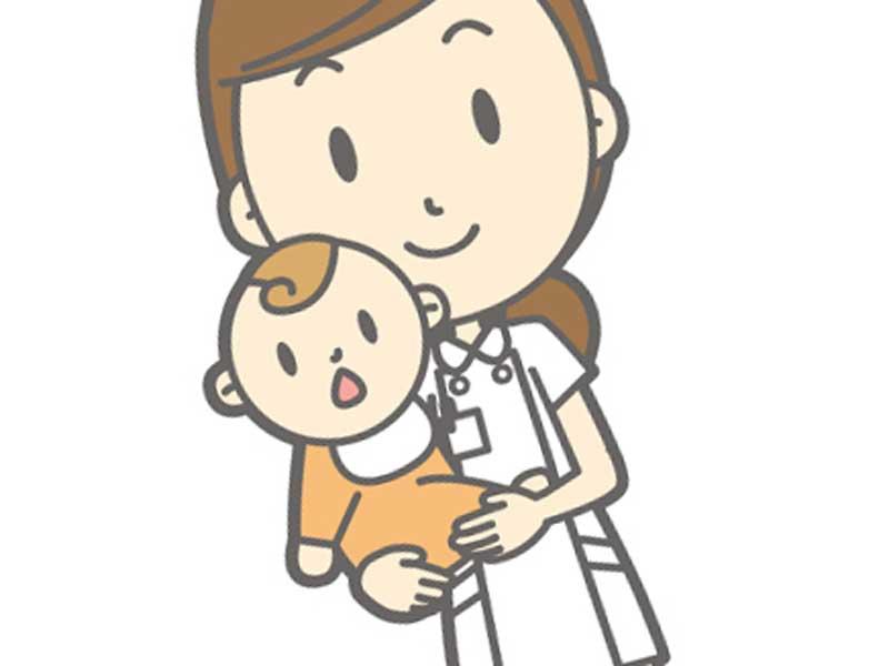 赤ちゃんを抱っこする看護婦さんのイラスト