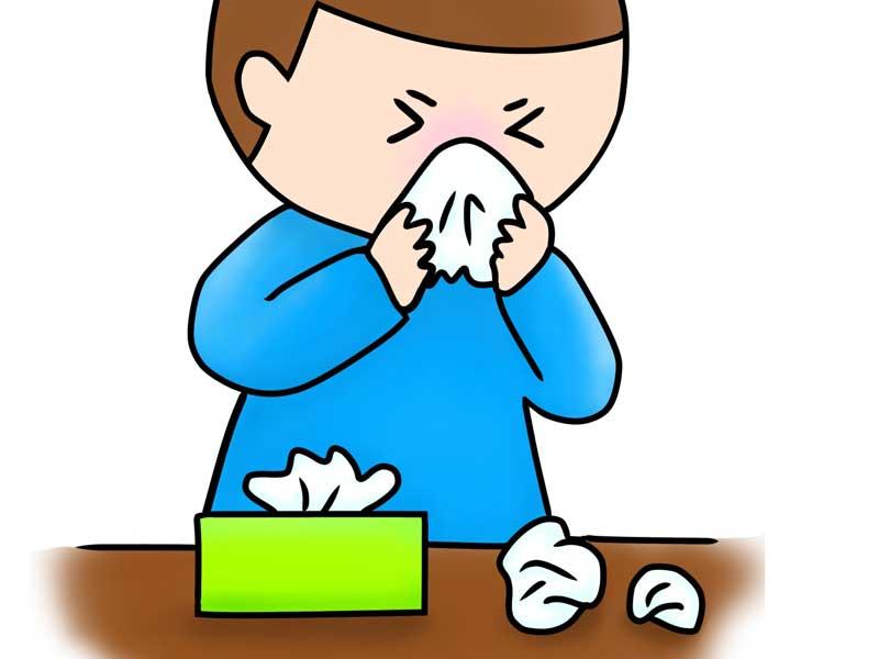 鼻炎の男の子のイラスト