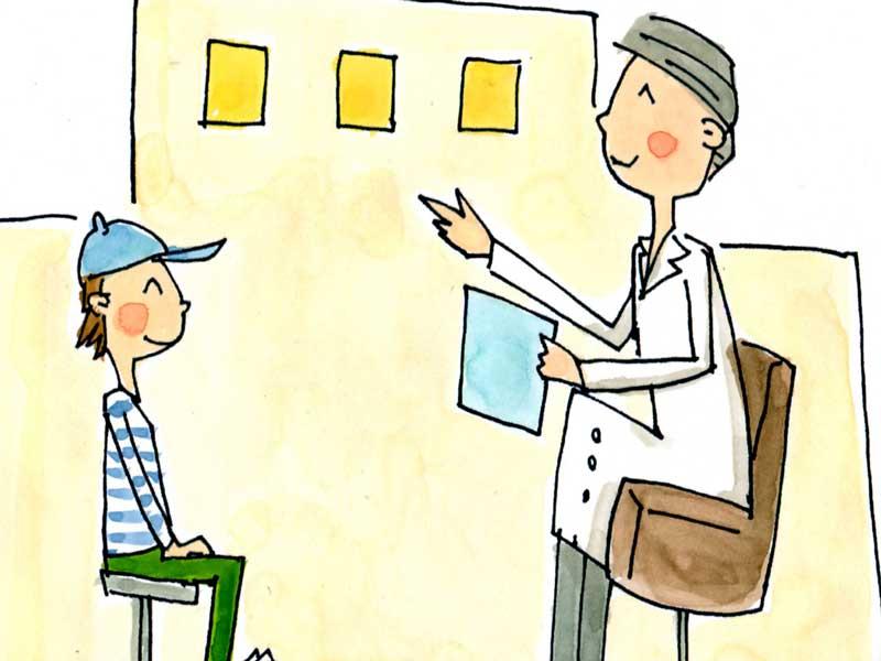 病院で受診をしている子供のイラスト