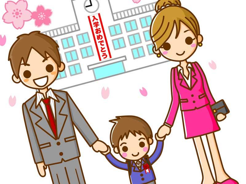 子供の入学式に出る家族のイラスト