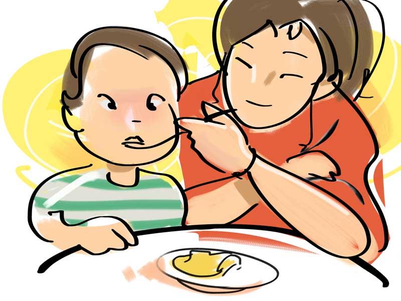 赤ちゃんに離乳食を食べさせるママのイラスト