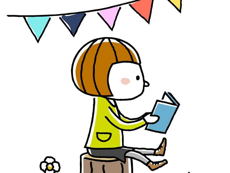 児童書を読んでいる子供のイラスト