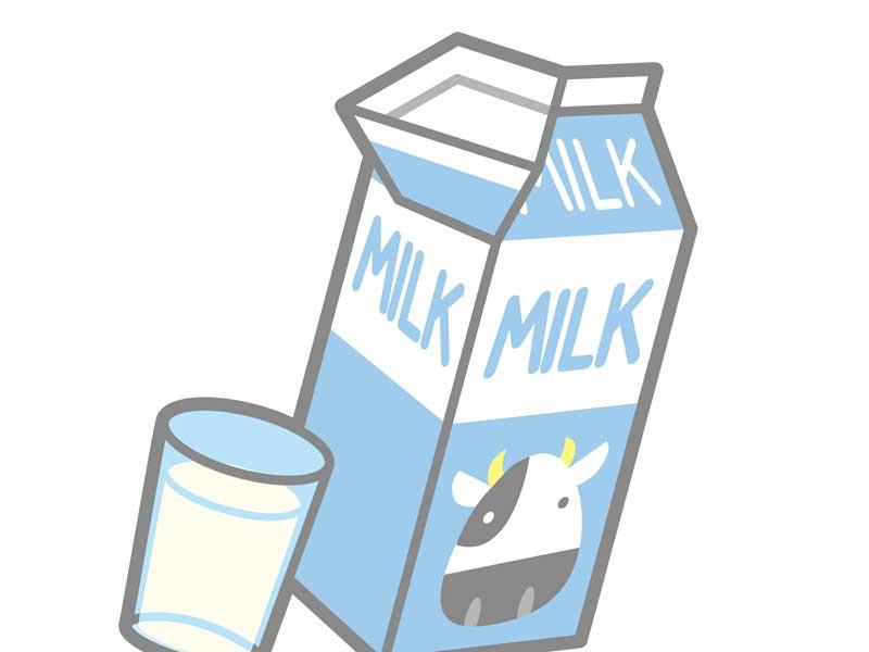 牛乳と牛乳パックのイラスト