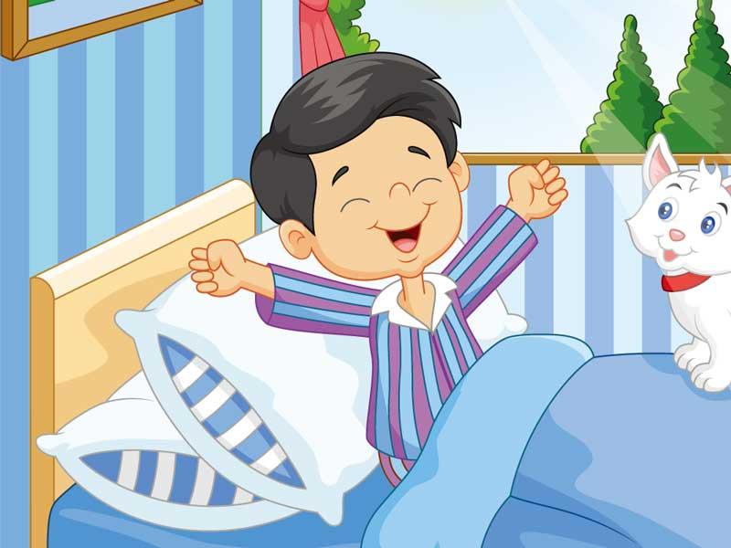 寝起きの子供のイラスト