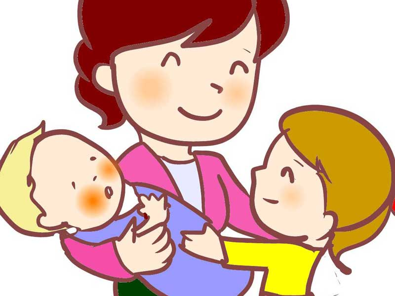 赤ちゃんとお姉ちゃんとママのイラスト