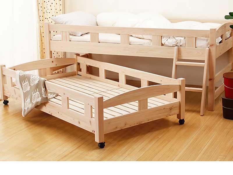 高級材ヒノキを使ったコンパクトな親子ベッド