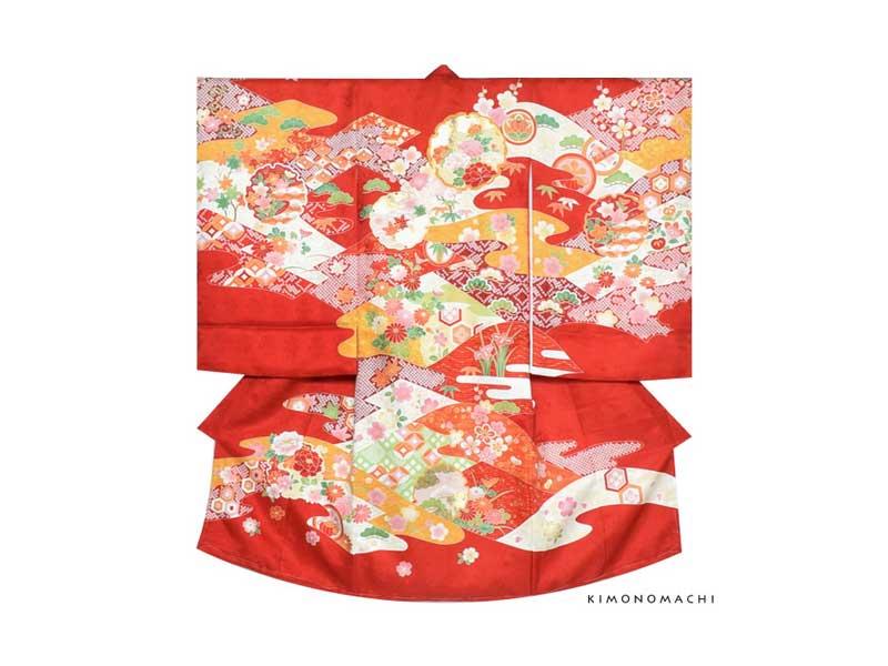 女の子のお宮参り着物祝い着「赤色 雪輪」