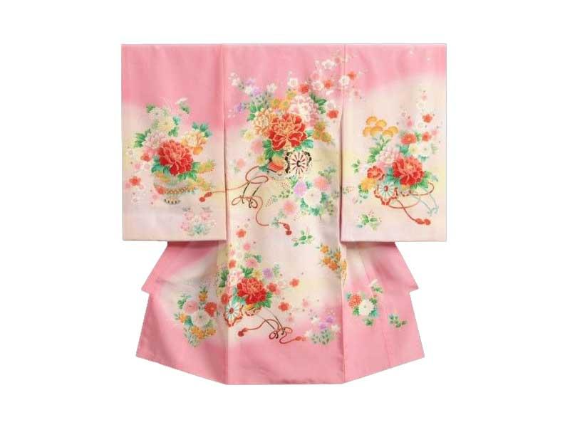 花車金糸刺繍赤ちゃん着物