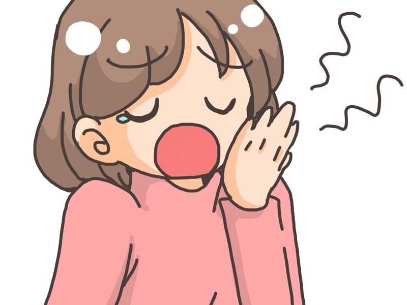 あくびをしている妊婦さんのイラスト