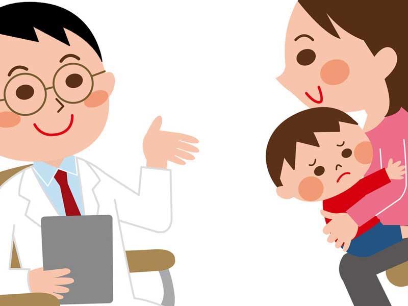 赤ちゃんを連れて医師と相談するママのイラスト