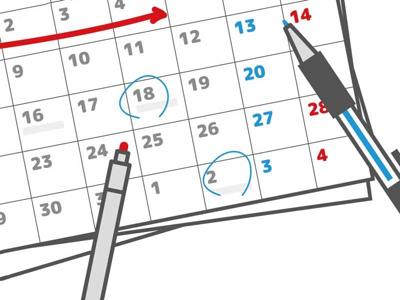 スケジュールが書かれたカレンダーのイラスト