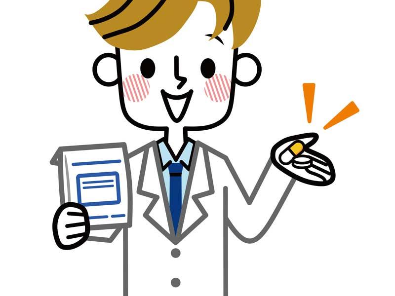 処方薬を出す医師のイラスト