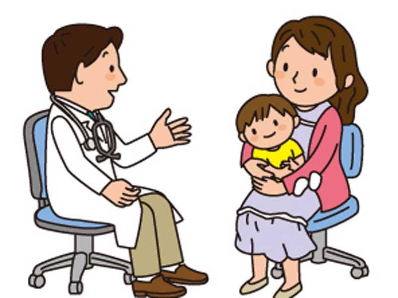 医師に相談する親子のイラスト