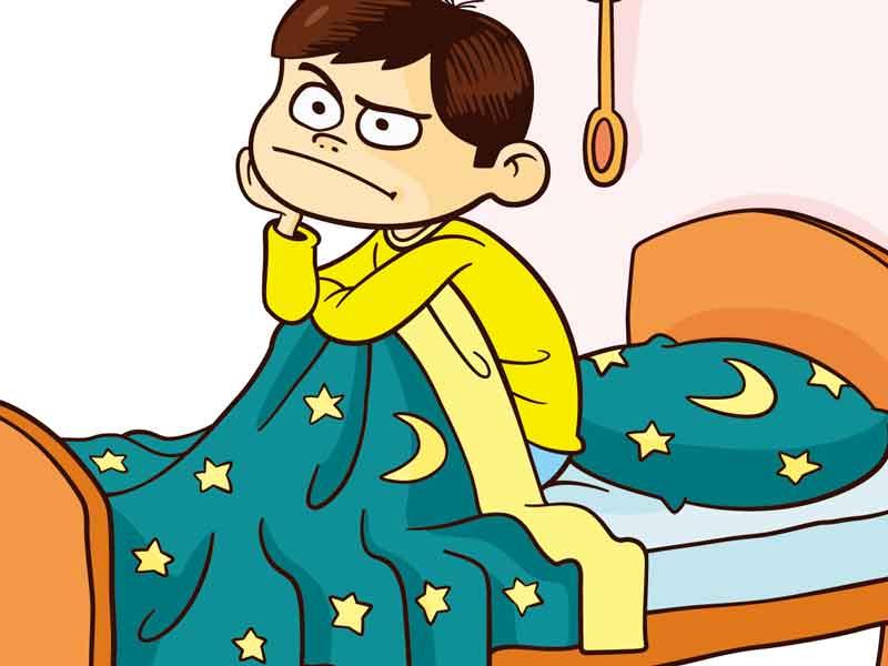 寝起きが悪い子供のイラスト