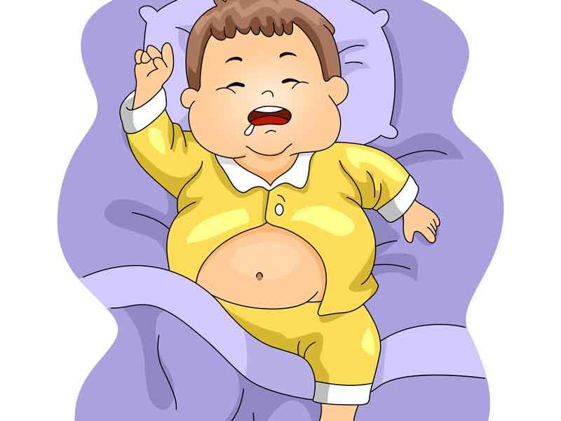 小児肥満の男の子のイラスト