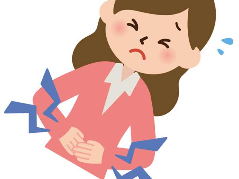 腹痛の女性のイラスト