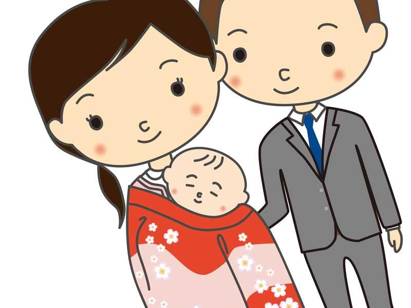 お宮参りする家族のイラスト