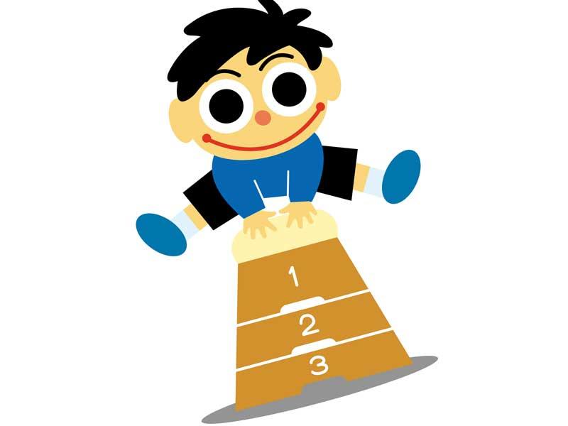 跳び箱をしている男の子のイラスト