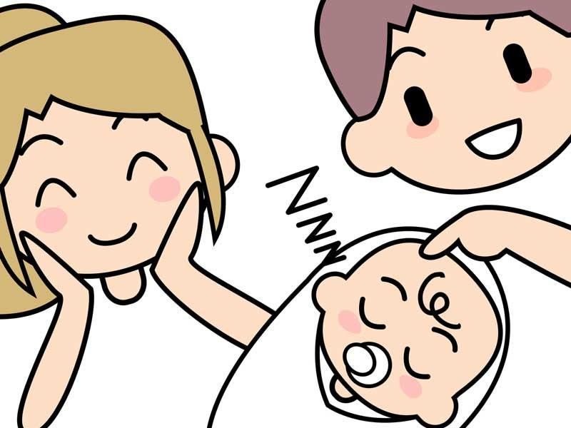 おくるみして寝ている赤ちゃんと親のイラスト