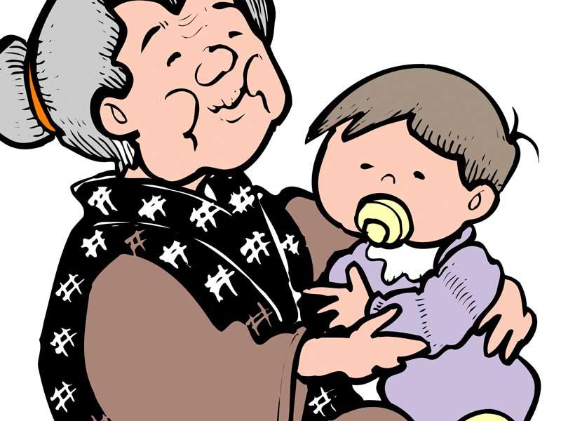 おしゃぶりする赤ちゃんを抱っこしているお婆ちゃんのイラスト