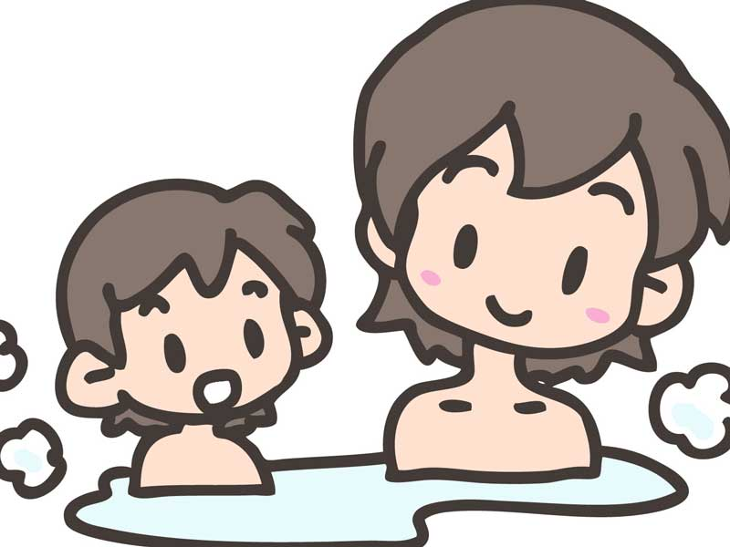 ママとお風呂を入る男の子のイラスト