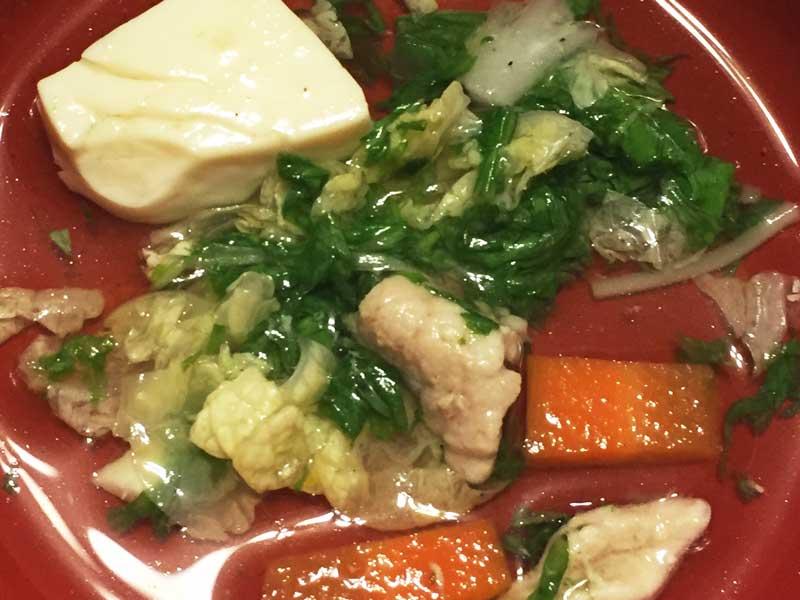 水菜と豚肉の水炊き