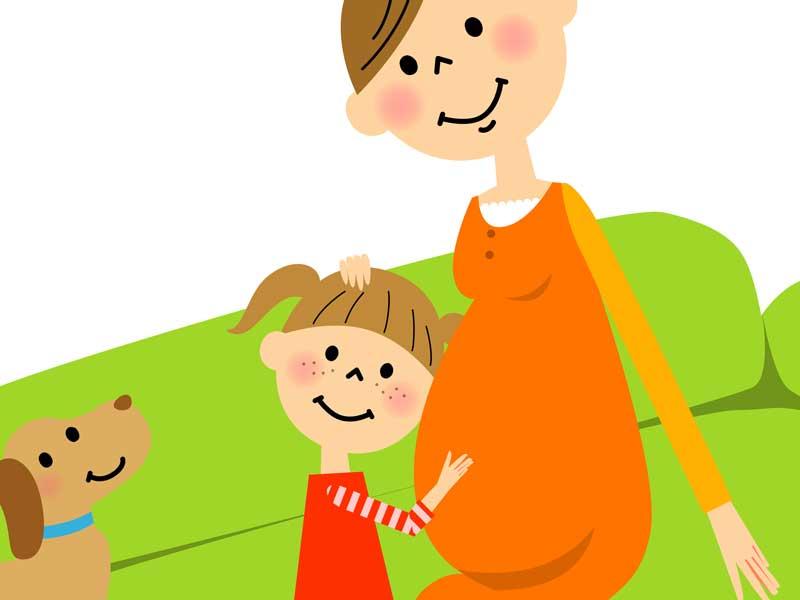 臨月の妊婦さんと子供のイラスト