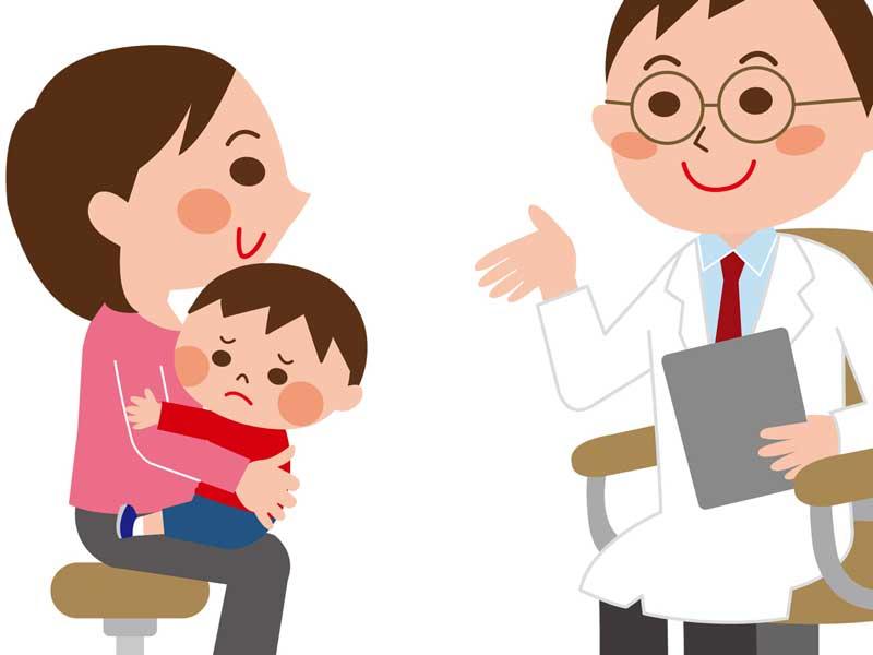 赤ちゃんを連れて医師に相談しているママのイラスト