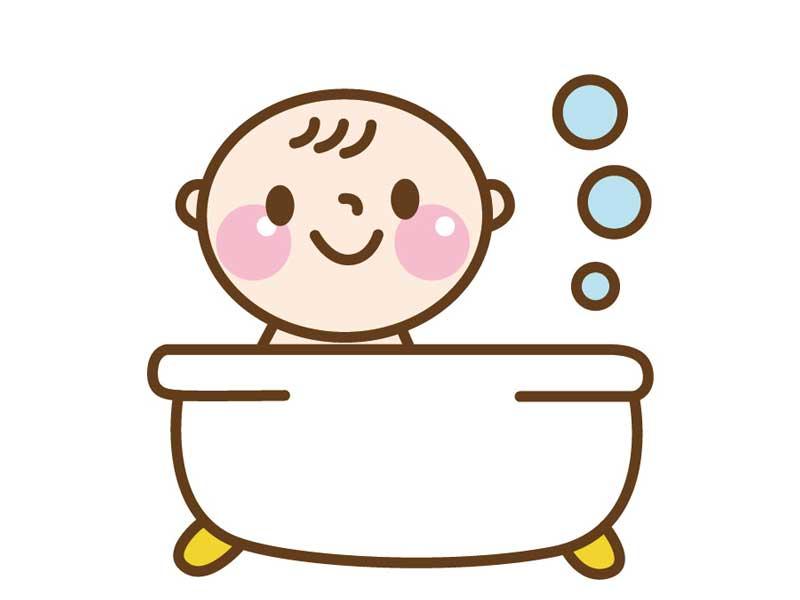入浴をしている赤ちゃんのイラスト