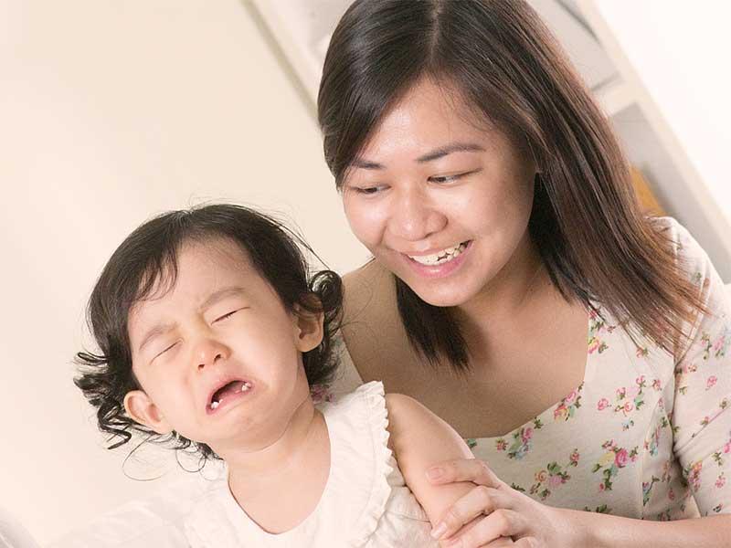 風疹の予防接種の注射をして泣いちゃった赤ちゃん