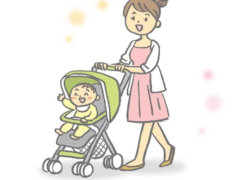 ママとお出かけする赤ちゃんのイラスト