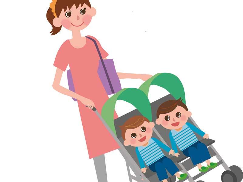 ベビーカーに乗る双子の赤ちゃんのイラスト