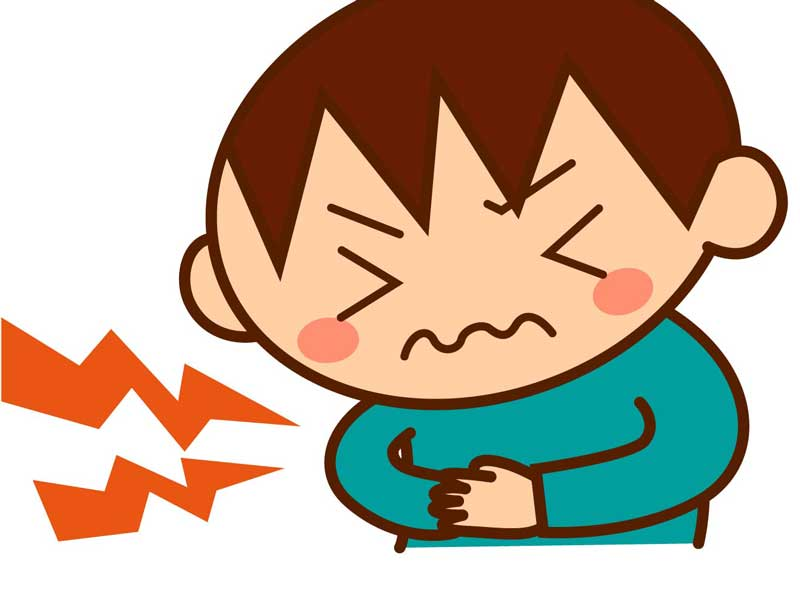腹痛でお腹を押さえている子供のイラスト