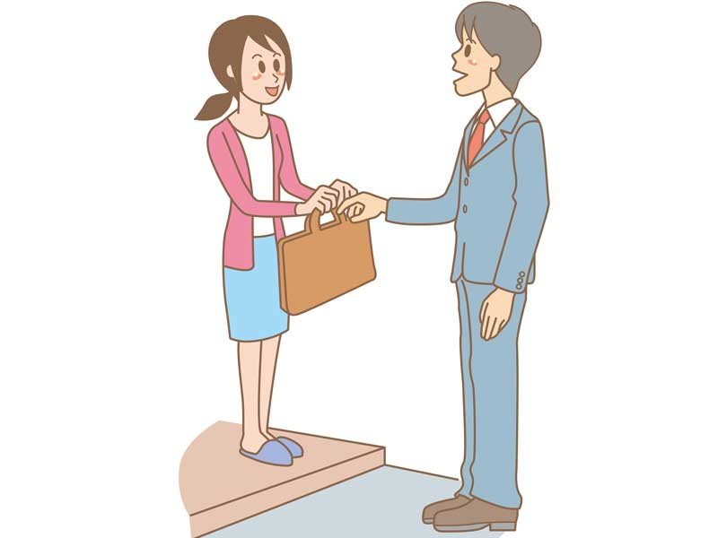 出かける前に挨拶する夫婦のイラスト