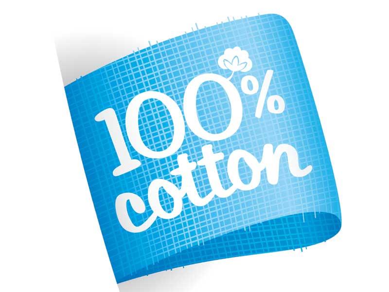 綿100パーセントのタグ