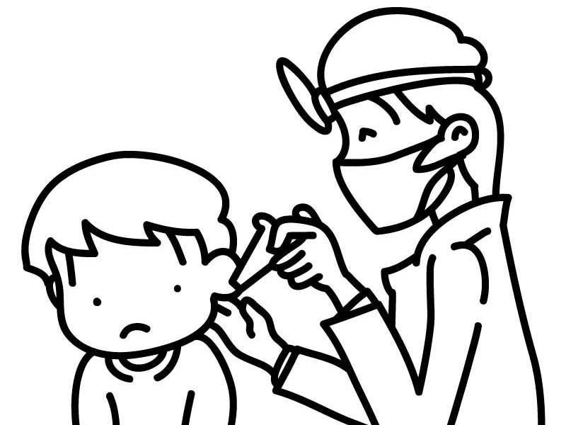 病院で耳掃除される子供のイラスト
