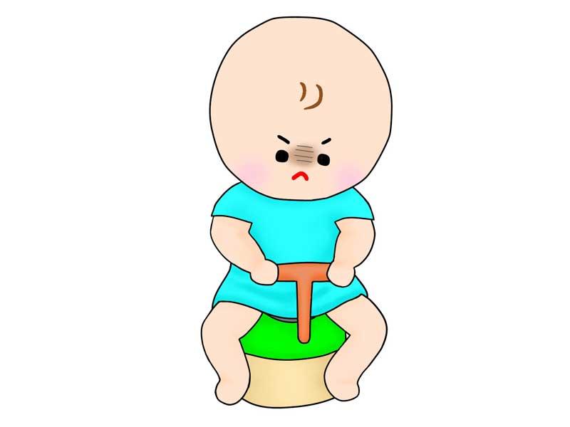 おまるでトイレトレーニングをしている子供のイラスト