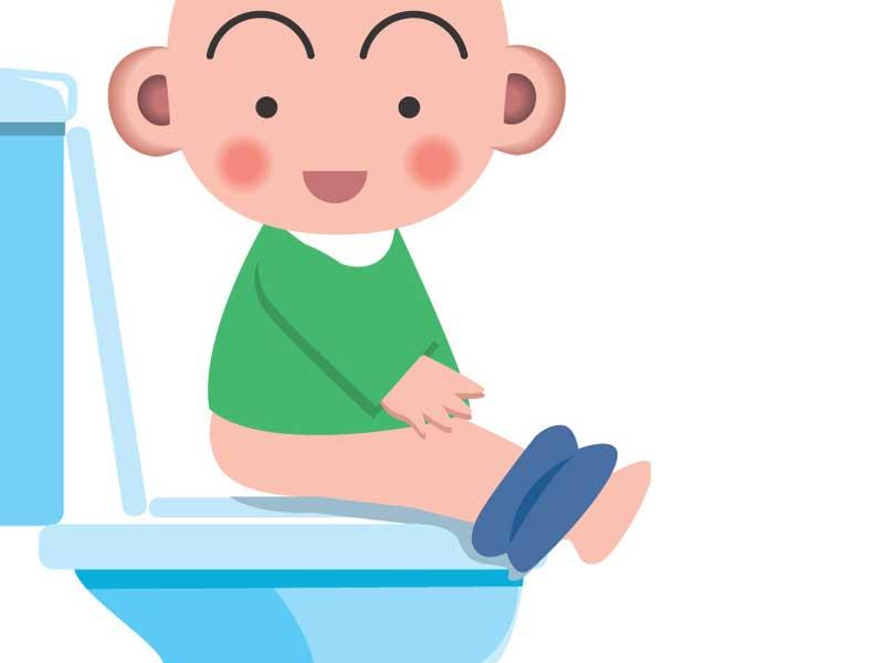 トイレをしている子供のイラスト