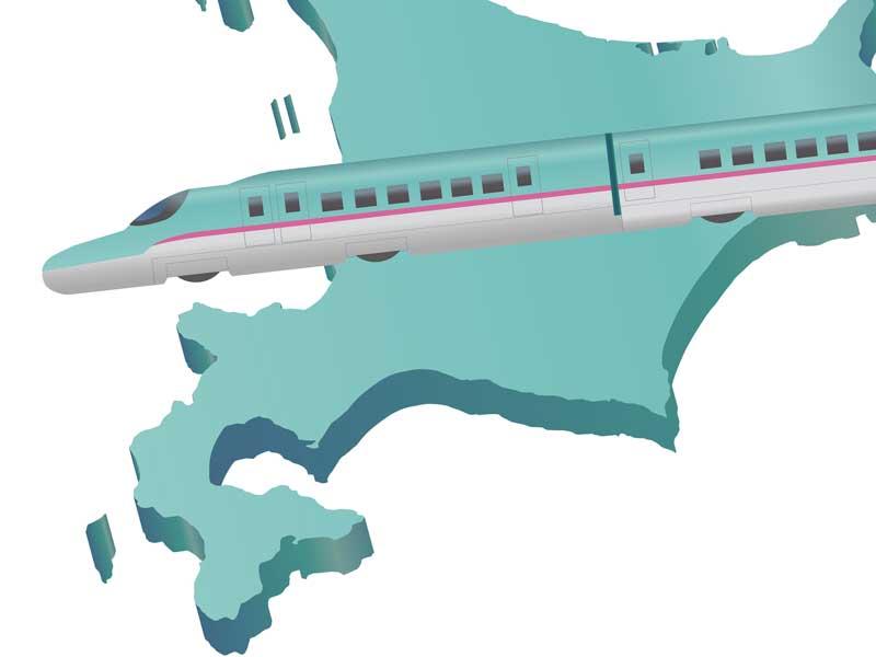北海道と新幹線のイラスト