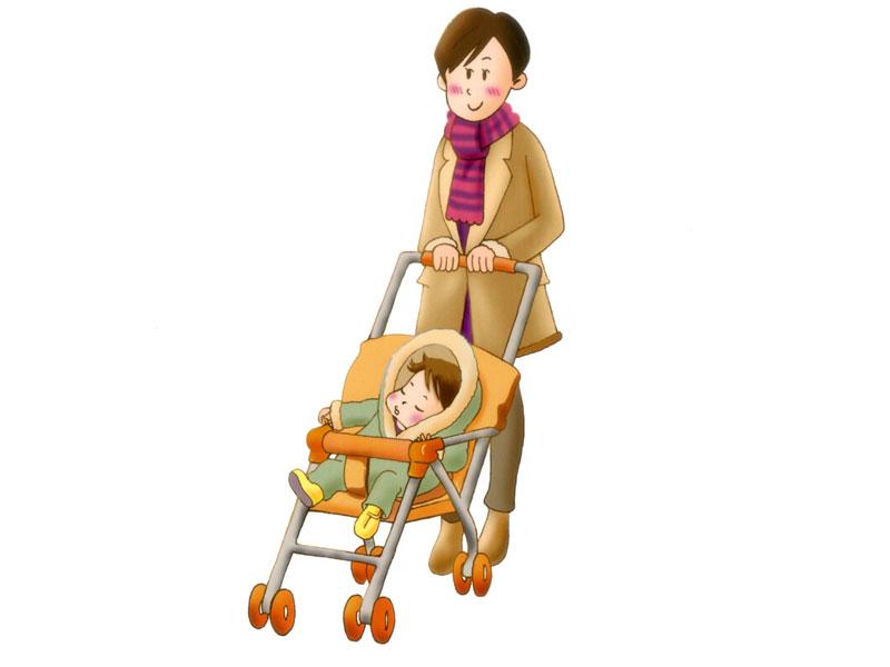 赤ちゃんを連れてお出かけするママのイラスト
