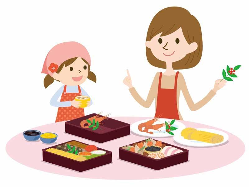 おせち料理を作る親子のイラスト