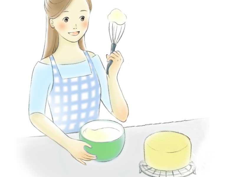 ケーキを手作りをしているママのイラスト