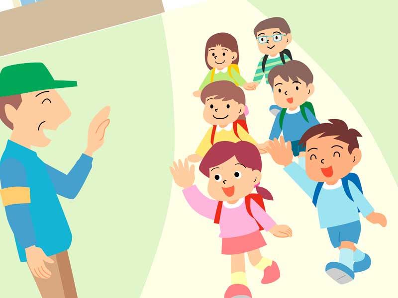 集団下校の小学生達のイラスト